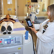 Nursing staff at the Carl T. Hayden VA Medical Center in Phoenix test a pressure mapping system.
