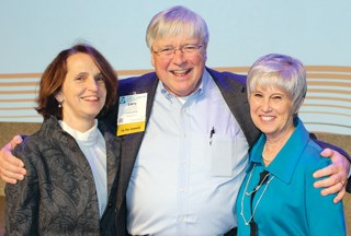 Outgoing and incoming LeadingAge leaders shown celebrating at the group's recent convention include (L-R) Katie Smith Sloan, Larry Minnix and new board chairwoman Kathryn Roberts. Minnix officially st