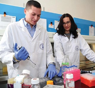 Lewis Reis and Milica Radisic, working with special biomaterial.