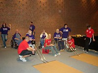 Athletes bowl in the Geri Olympics in West Virginia earlier this year.