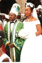 King Charles Wesley Mumbere with Queen Agnes Ithungu Asimawe at Oct. 20, 2007, wedding in Uganda.