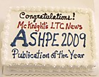 Let them eat cake! This dessert tells the good news about McKnight's' ASHPE awards honor.