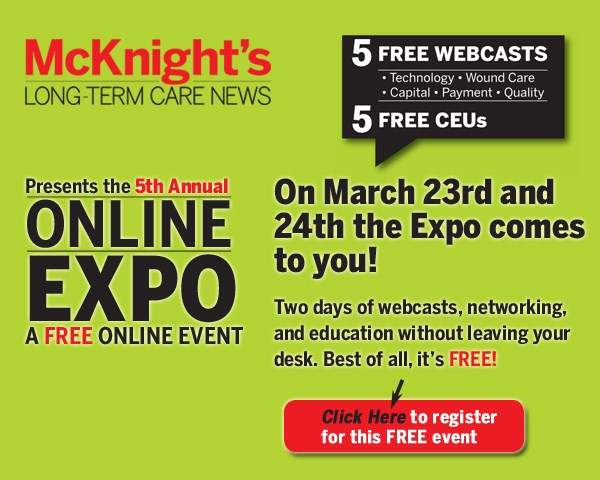 DAY ONE: McKnight's 5th Annual Online Expo kicks off today with technology, wound care and capital w