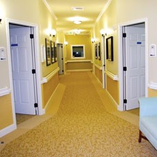 Carpet must be carefully chosen for residents with dementia, and artwork should be literal.