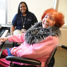 Playing the piano can be a therapeutic way for residents to stay engaged.