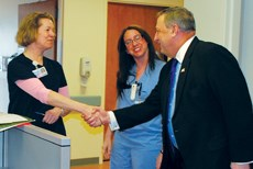 Gov. Paul LePage (R) recently visited the Central Maine Medical Center in Lewiston.
