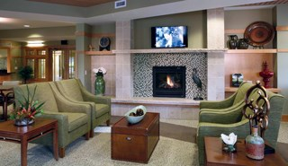 The renovations at Brandel Health & Rehab include a new resident lounge with a fireplace