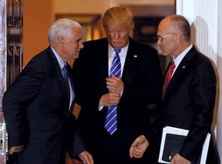 President-elect Donald Trump, VP-elect Mike Pence (L) and Secretary of Labor nominee Andrew Puzder are expected to drop overtime expansion efforts.