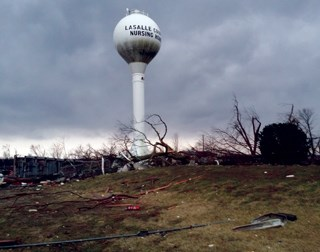 Tornado damage in the area near the LaSalle County Nursing Home. Credit: Equinox Weather LLC