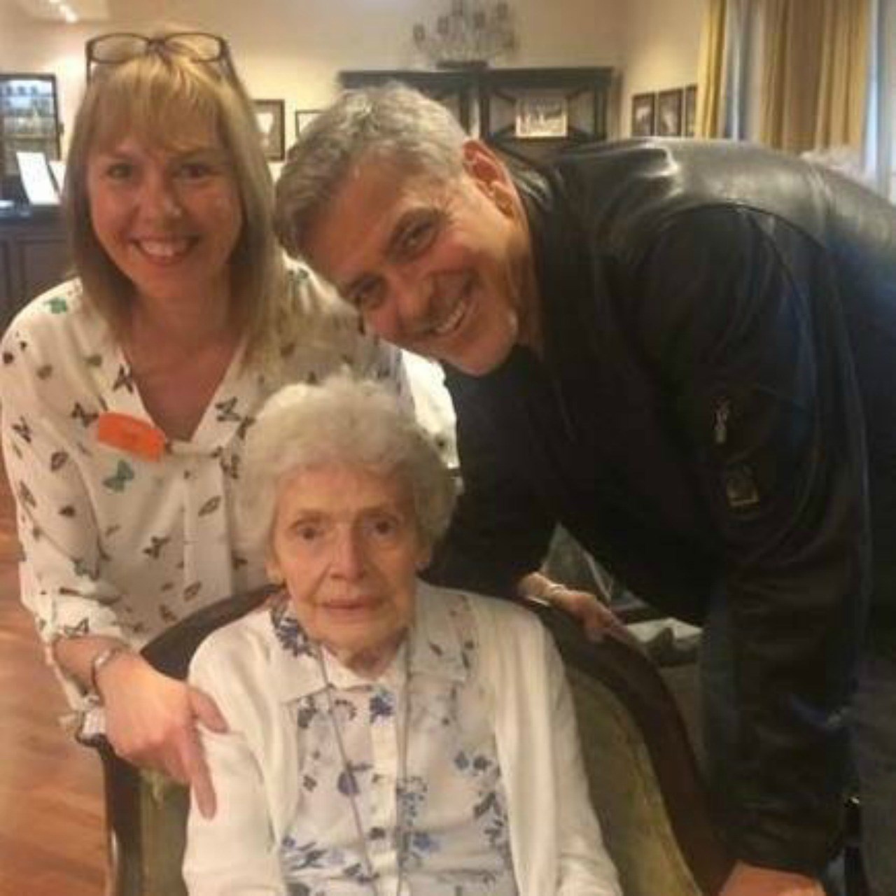 George Clooney surprises nursing home resident (and staff) on her birthday