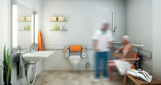 Systems such as Pressalit's Care Plus make bathroom equipment height- and width-adjustable, creating more space and greater accommodations.