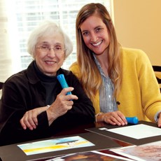 Mather's 'talking pen' technology allows residents, staff and family members to interact with residents' artwork.