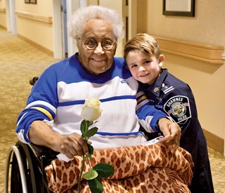 Officer Oliver Davis — age 6 — gets tough on nursing home residents for being 'too cute'