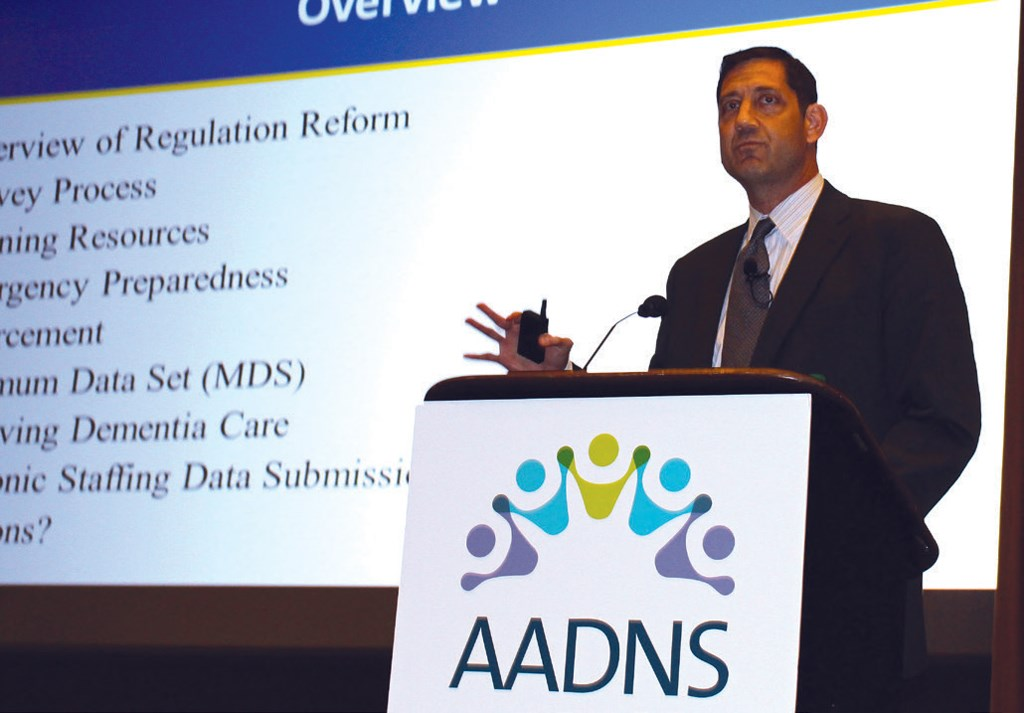 CMS' Evan Schulman, shown here at the 2017 AADNS conference, said nursing homes are consistently falling short of meeting infection control regulations.
